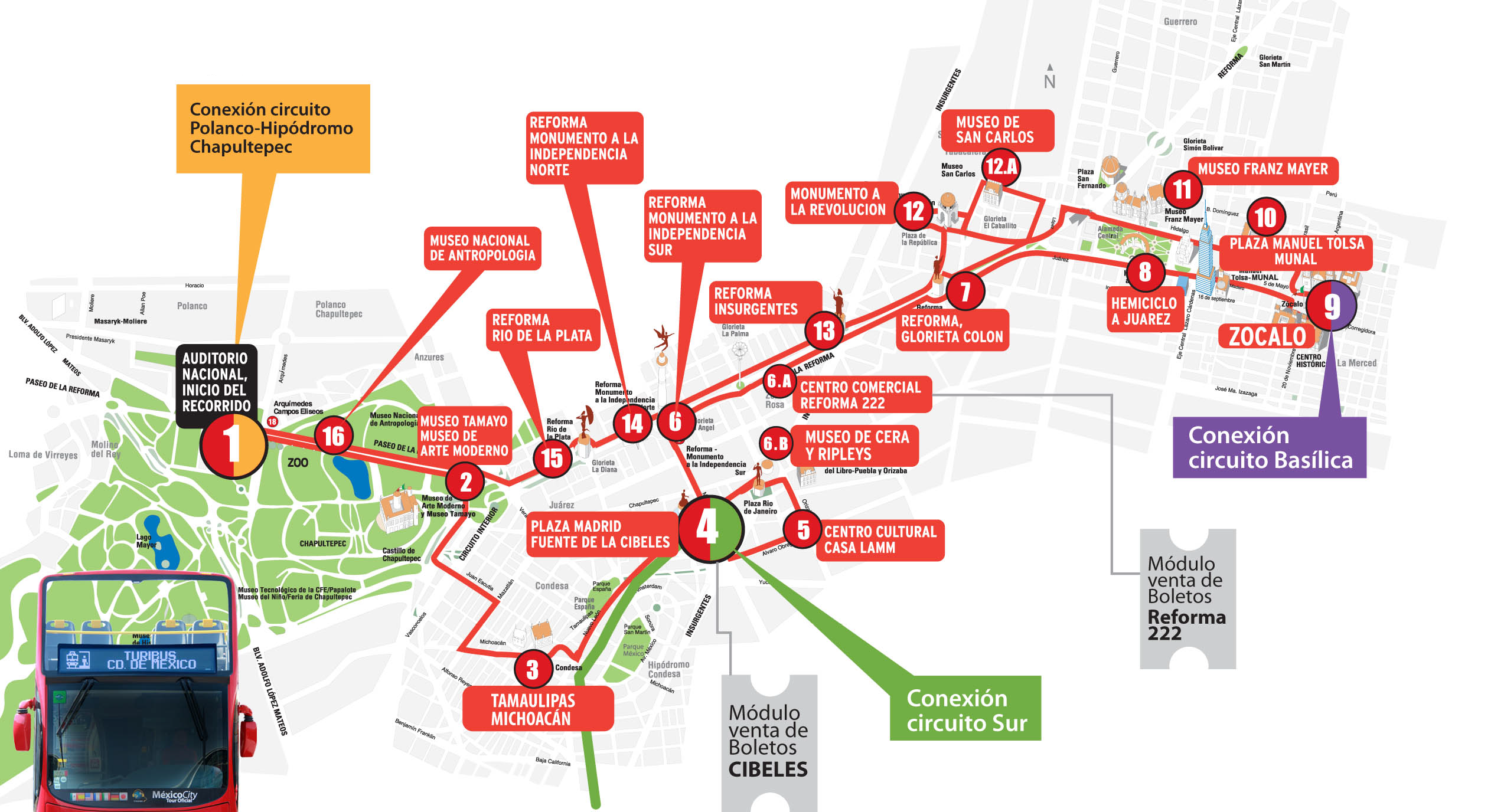 Map of Mexico City tourist attractions sightseeing  tourist tour