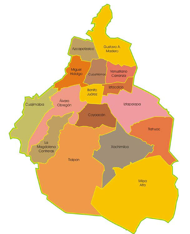 Obregon Mexico Map.Map Of Mexico City 16 Districts Delegaciones Neighborhoods