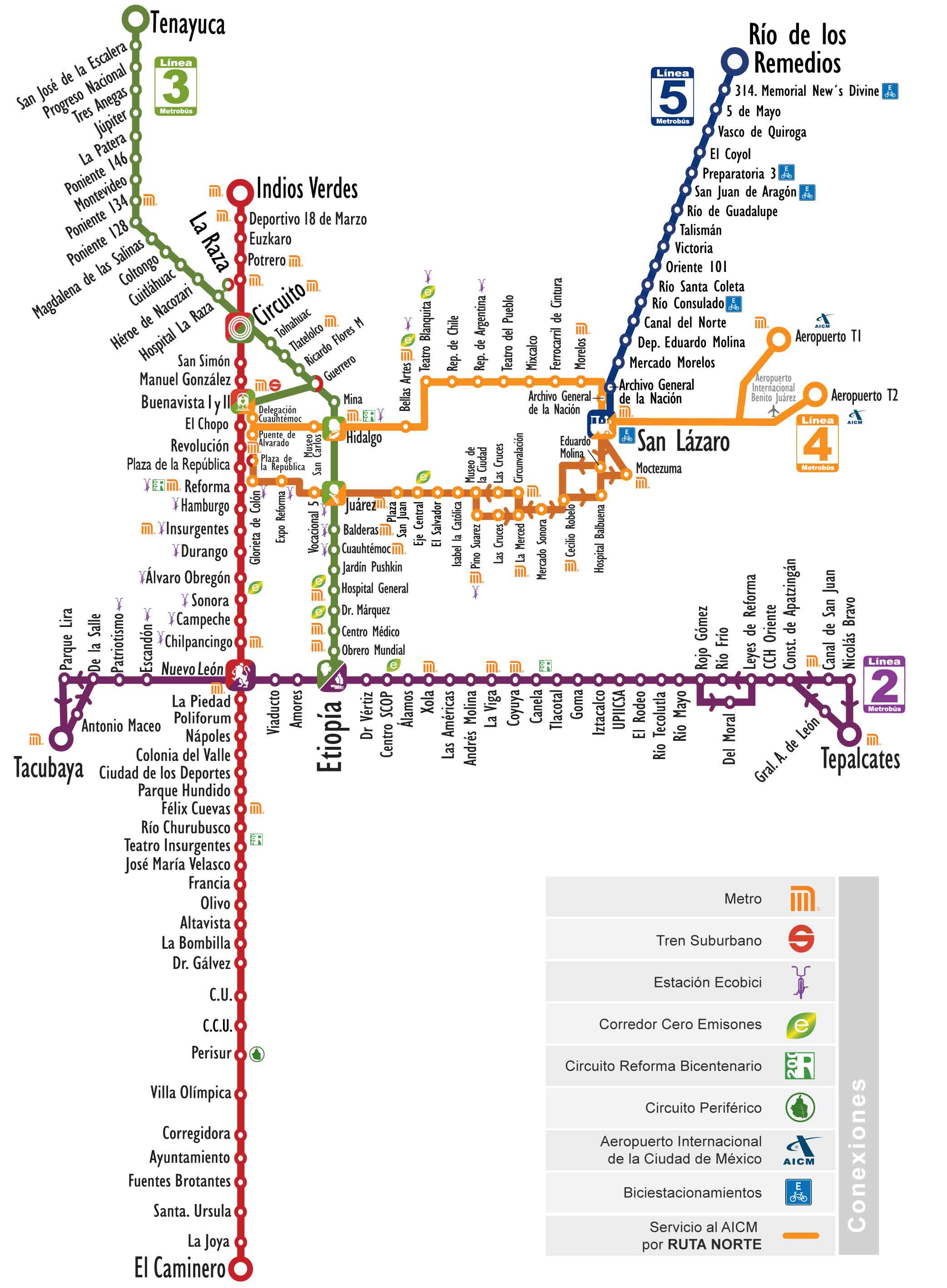Karta Barcelona Metro.Map Of Mexico City Metrobus Mexibus Trolleybus Stations Lines