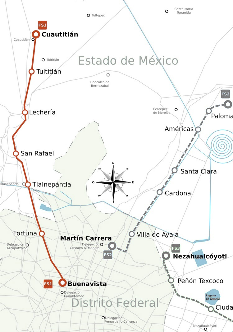Map of Mexico City train ferrocarril suburbano stations lines
