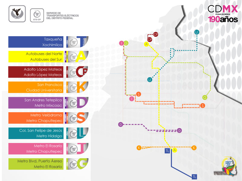 Map of Mexico City metrobus, mexibus & trolleybus: stations & lines
