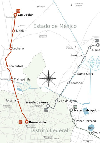 Map of Mexico City train, urban, commuter & suburban railway network