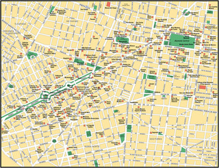 Tourist map of Mexico City attractions, sightseeing, museums, sites, sights, monuments and landmarks