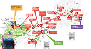 Map of Mexico City hop on hop off bus tour with Turibus